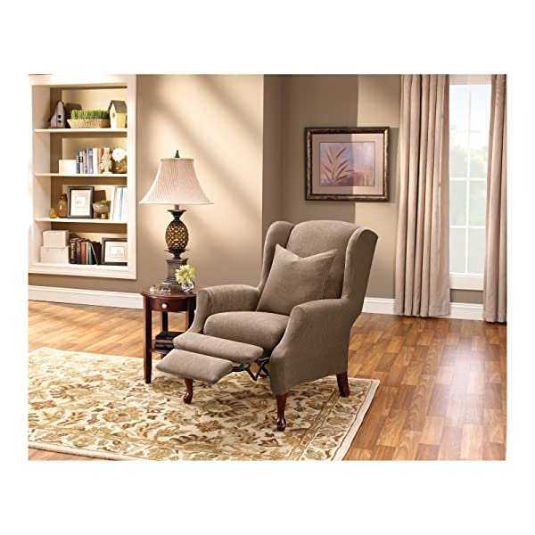 Sure Fit Stretch Pique - Reclining Wing Chair Slipcover- Taupe (SF37311)