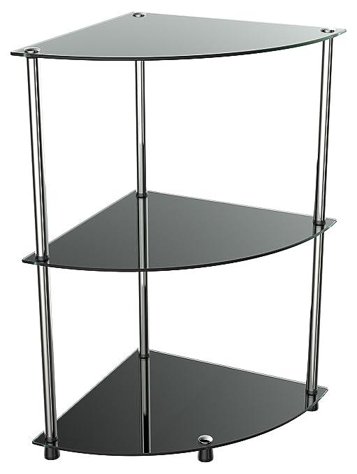 RICOO Bad-Regal für die Ecke WM501-B Stecksystem - Montage ohne Bohren |  Hochglanz Schwarz Nicht Transparent/Durchsichtig | Eck-Regal Glas-Regal ...