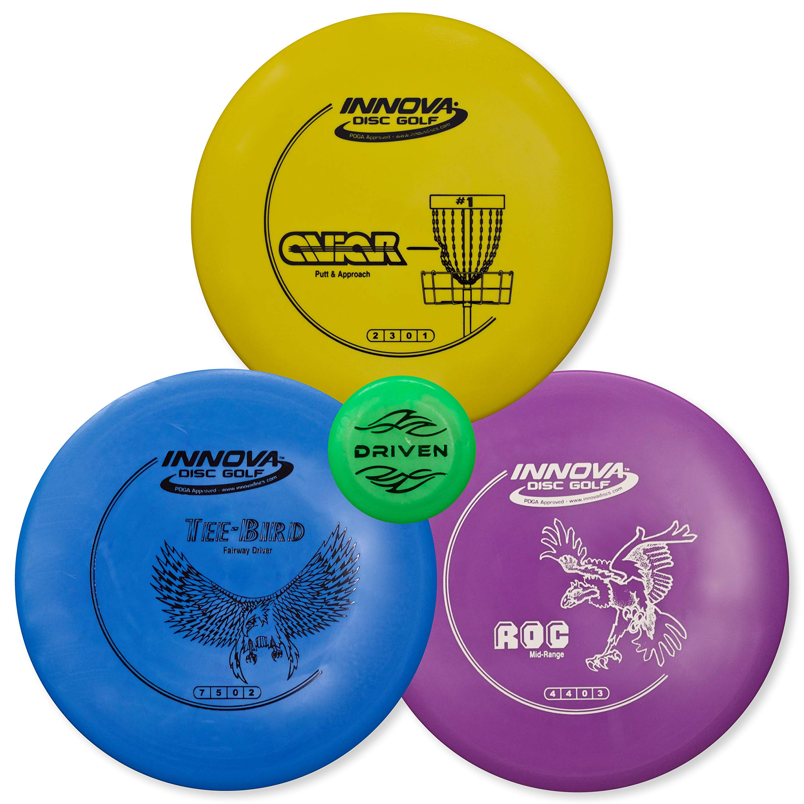 Innova Disc Golf Starter Set | Beginner Discs - 1025 Putting Game - Flight Reference Card - Driven Mini Marker | Disc Colors Vary (3 Disc Set - TeeBird, ROC, Aviar (Colors Vary))