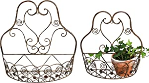 French Country Wall Basket for Plants, Set of 2, Crested Arabesque, Curled Iron, Bronze Tone, Garden Pot Holders, 1-15 1/2 x 5 1/2, and 2-12 1/2 x 5 1/2 Inches