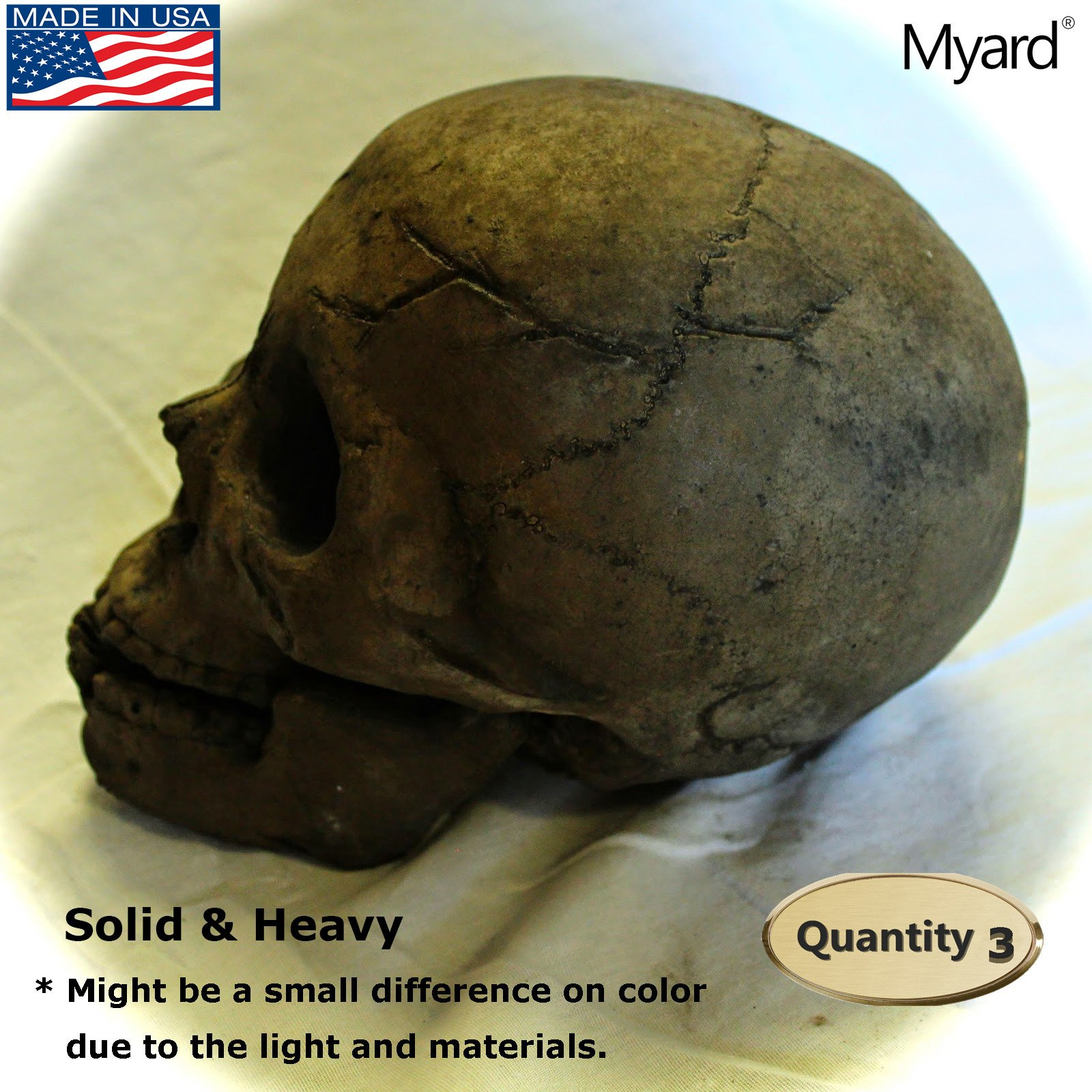 Myard DELUXE Log - Imitated Human Skull Fire Gas Log for Natural Gas / Liquid Propane / Wood Fire Fireplace & Fire Pit Halloween (Qty 3, Brown)