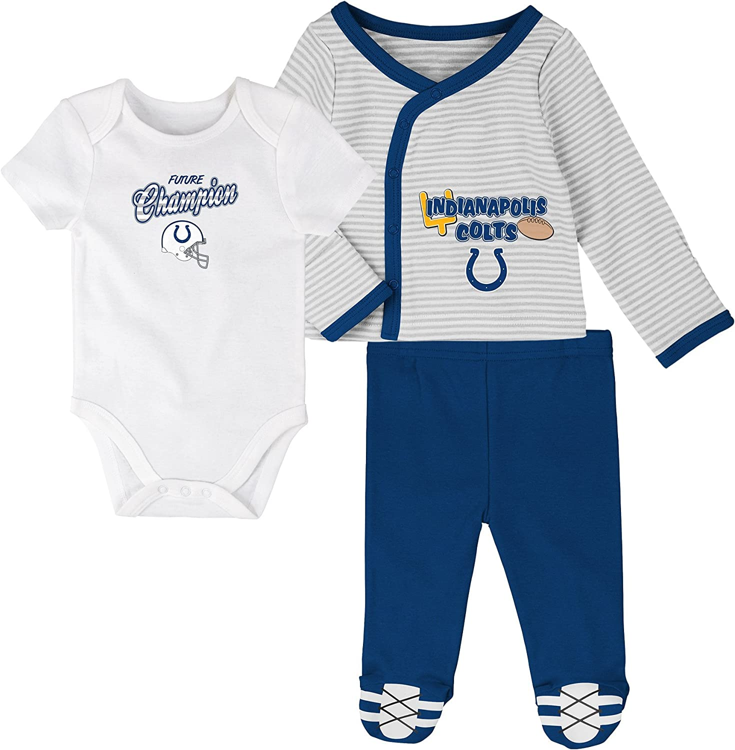 Outerstuff NFL Newborn Future Champ 3 Piece Onesie, Shirt and Pants Set, Indianapolis Colts, Speed Blue, 3 Months: Clothing