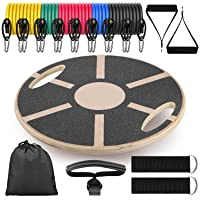 Richenfull Roundness Wood Wobble Exercise Balance Board with 8PCS Resistance Bands and 240LBS Max Tension Fitness Board for Adults and Children The Abs Legs Core Workout Balancing Board for Workout