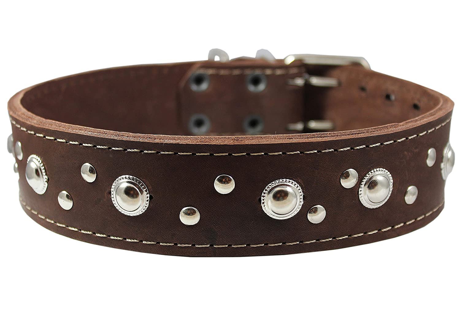 Thick Genuine Leather Studded Dog Collar 2 Wide Brown Sized to Fit 19-22 Neck 2 Wide Retriever Doberman Bulldog Cane Corso Pitbull