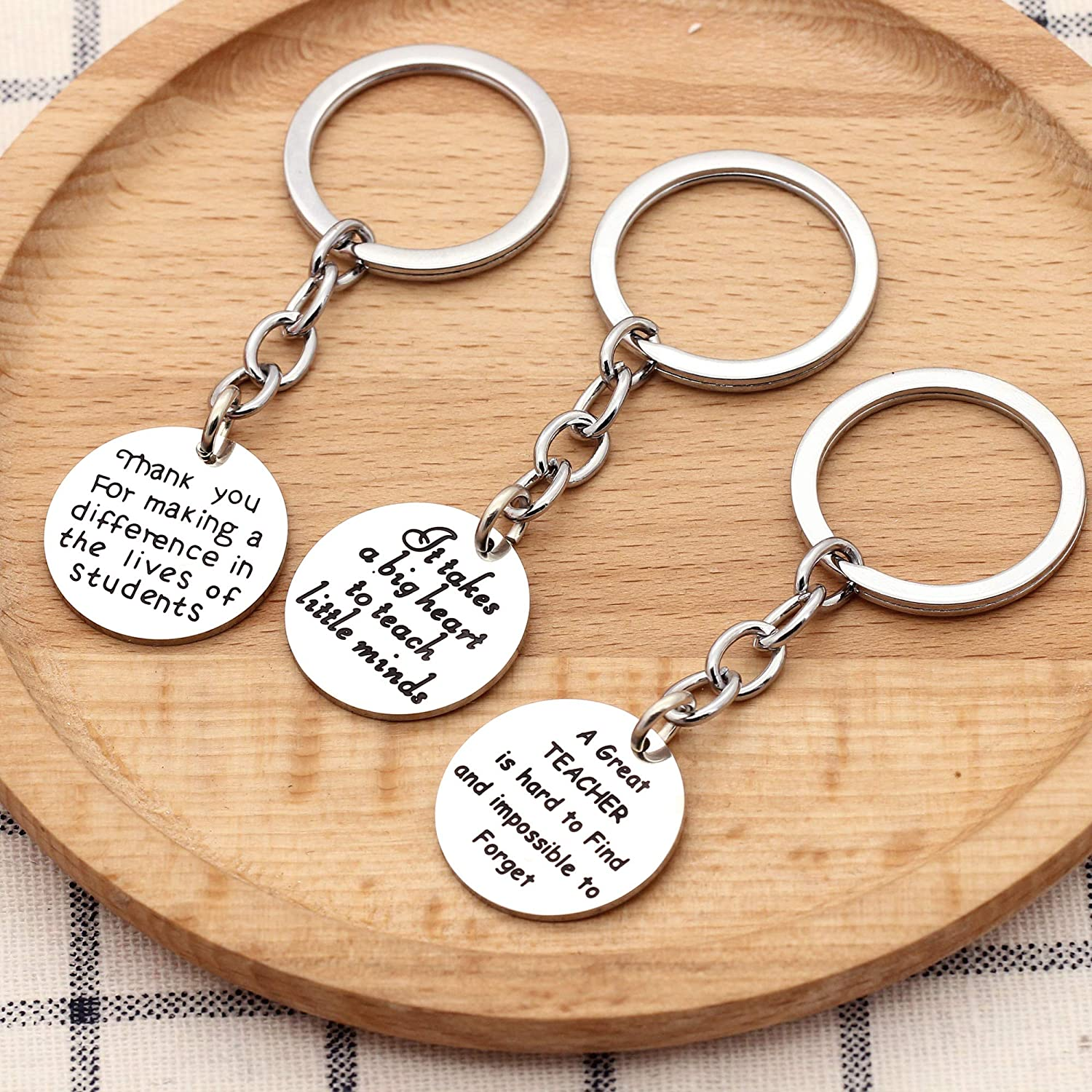 KENYG 3PCS//Set Silver Stainless Steel Round Shape Pendant Key Ring Key Chain for Teachers Mother Father Gifts