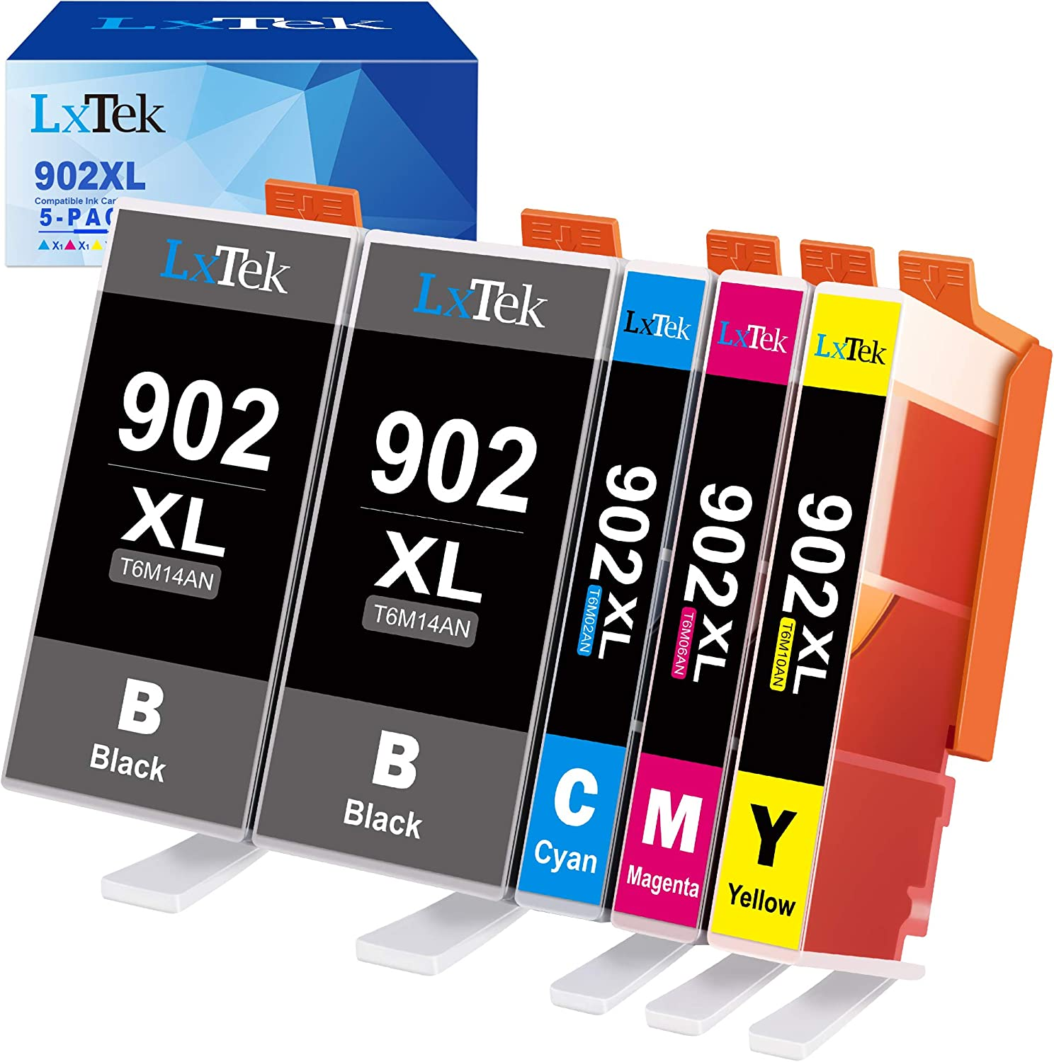 LxTek Compatible Ink Cartridge Replacement for HP 902 XL 902XL to use with Officejet 6978 6954 6962 6968 6975 Printers (5 Pack)