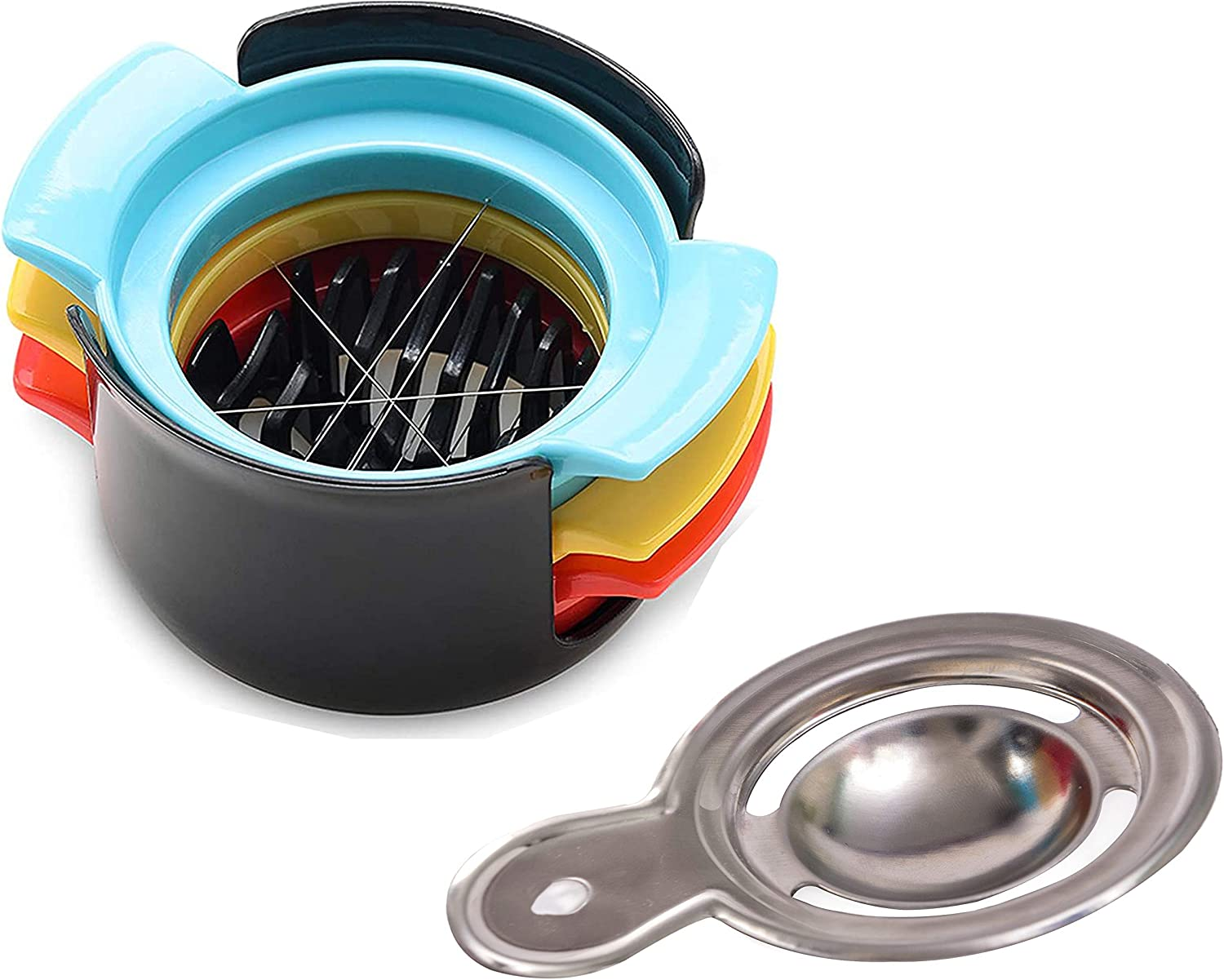 Egg Slicer for Boiled Eggs and sort Fruits,Stainless Steel Wire with 3 Slicing Styles & Egg Separator (2 pack)