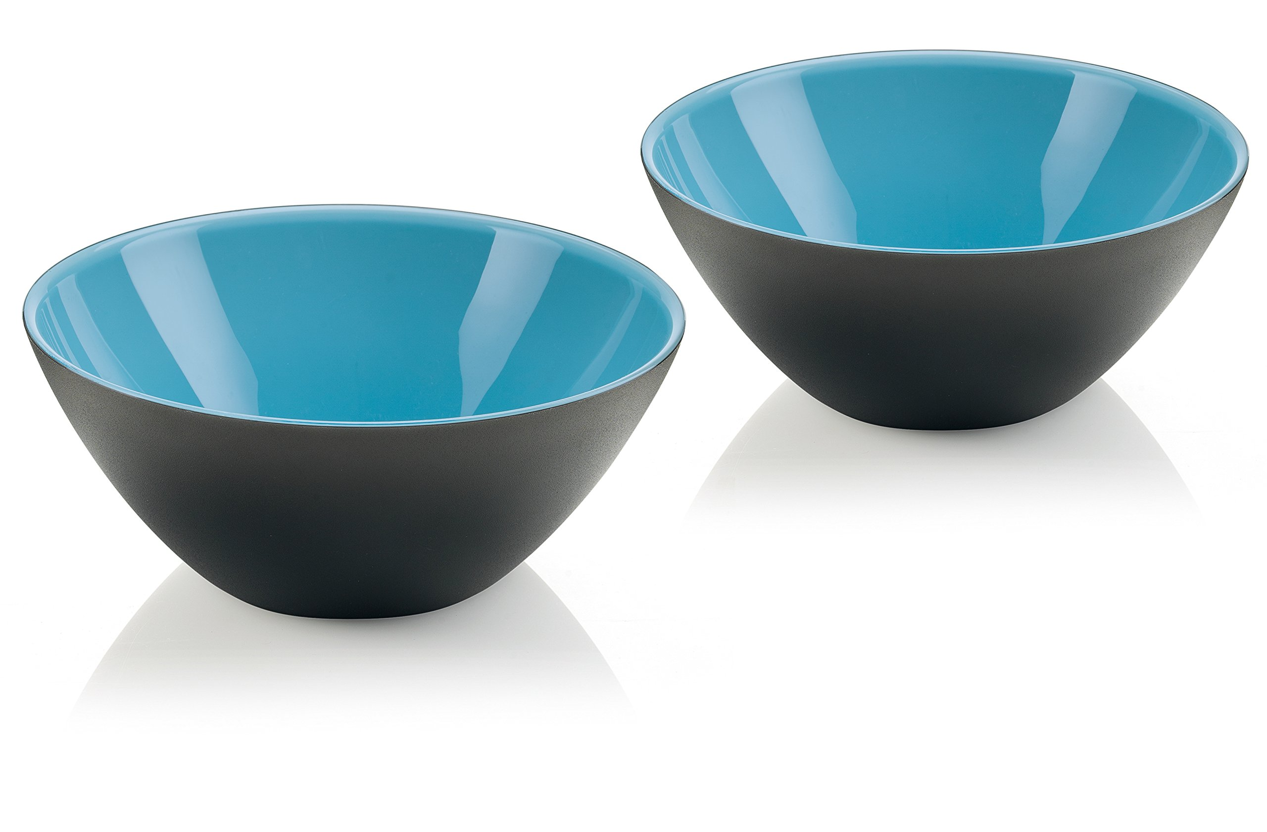 Guzzini My Fusion Small Bowls, Set of 2, BPA-Free Shatter-Resistant Acrylic, 4-3/4'' Diameter, Ideal for Desserts, Soups and Sides, Blue, Black