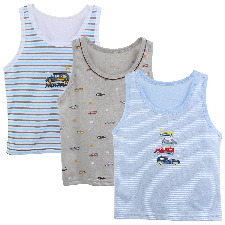 BOOPH 3-Pack Boys Tanks Top, Striped Sleeveless Shirt Baby Toddler Cartoon Car Truck Prints Undershirt for Little Boy 2-3 Years
