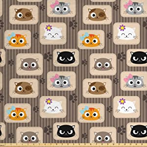 Ambesonne Cat Fabric by The Yard, Patchwork Inspired Pattern Kitty Faces Silly Expressions Footprints Stripes, Decorative Fabric for Upholstery and Home Accents, 1 Yard, Taupe Orange