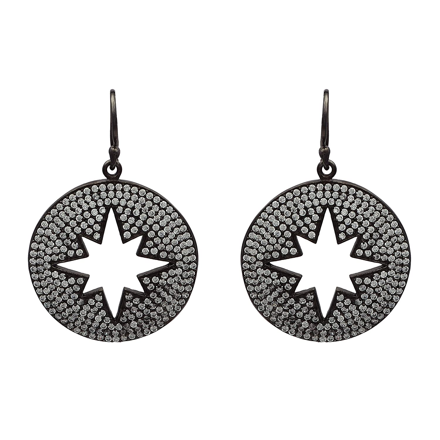 Star Of David Sterling Silver Cubic Zirconia Dangle Earring Jewelry For Teen Girls and Women Gifts