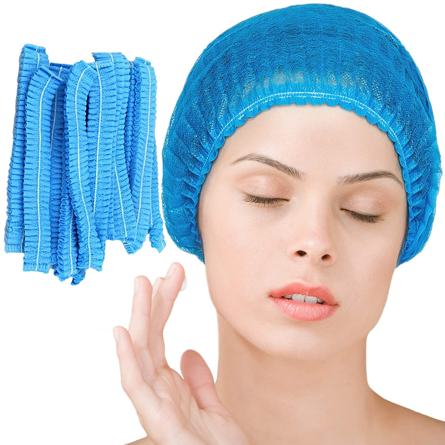 Disposable Bouffant Caps 100 Pcs (Blue),21inches Hair Net, Elastic Dust Cap for Food Service, Sleeping Head Cover, Medical