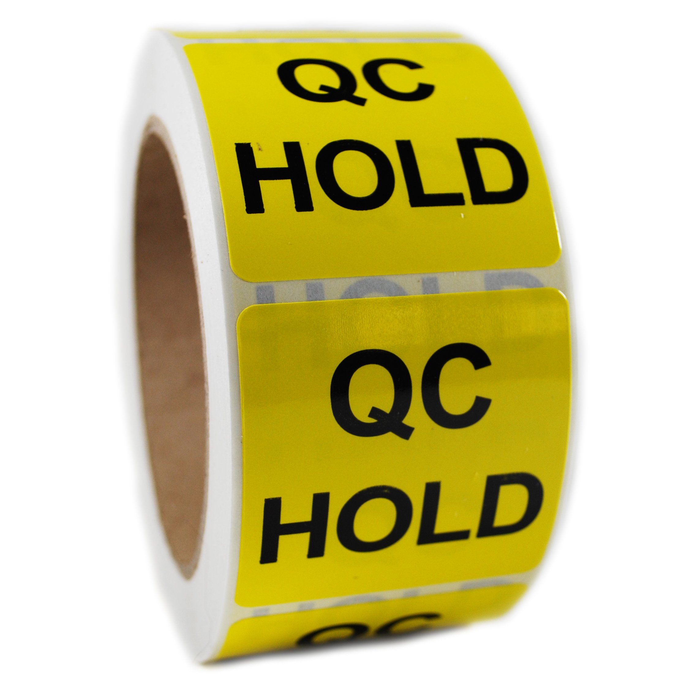Glossy Yellow ''QC Hold'' Sticker Label - 2'' by 2'' - 500 ct