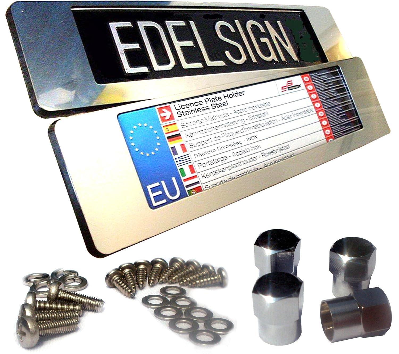 Edelsign - Juego de soportes para matrícula Acero Inoxidable inox Bling 360 para 36 unidades Matrícula (2 unidades) material V2 A inox RVS Top frontal App ...
