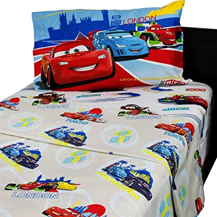 Superbe Disney Cars Track Burn 4pc Full Double Bed Sheet Set
