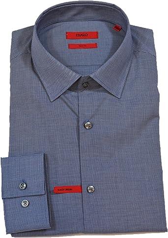 BOSS Hugo Camisa Formal - Cuadrados - Clásico - para Hombre Azul Azul Marino 43 cm(109 cm Pecho): Amazon.es: Ropa y accesorios