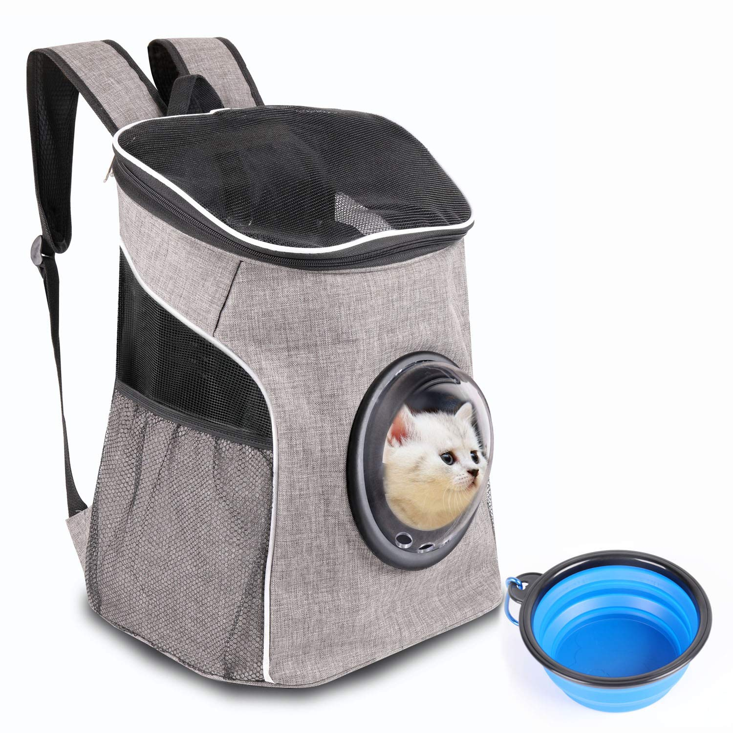 Pet Carrier Backpack Cat Backpack Breathable for Small Medium Dogs and Cats, Deluxe Pet Carrier Bag with Bubble Window, Mesh Ventilation and Safety Features for Traveling, Hiking, Camping, Walking