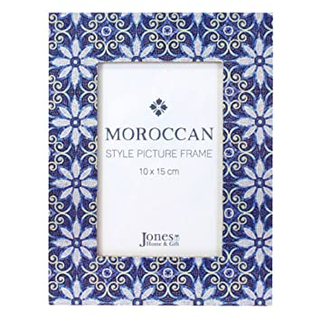 Photo Frame Moroccan Mosaic Blue Wooden Photo Frame: Amazon.co.uk ...