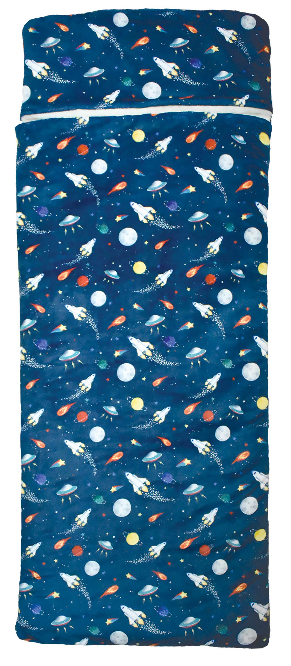 iscream 'Out of This World' 57'' x 28.5'' Faux Sherpa-Lined Silky Silky Fleece Zippered Sleeping Bag
