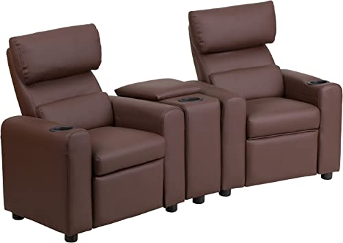Flash Furniture Kid s Brown LeatherSoft Reclining Theater Seating with Storage Console