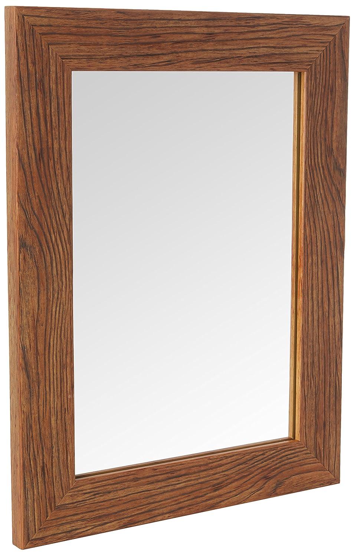 Inov8 Espejo con marco, grano de madera teca, a4-inch: Amazon.es: Hogar