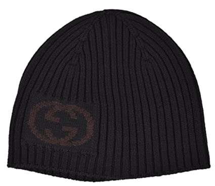 25977d2eca93 Image Unavailable. Image not available for. Color  Gucci Men s Black Wool  Interlocking GG Logo Beanie Hat