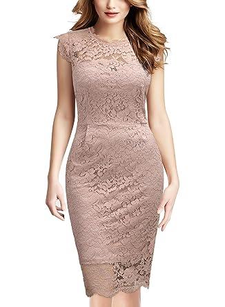 Miusol Damen Party Kleid Rundhals Elegant Spitzenkleid Stretch Abendkleider   Amazon.de  Bekleidung b7ba6951f8