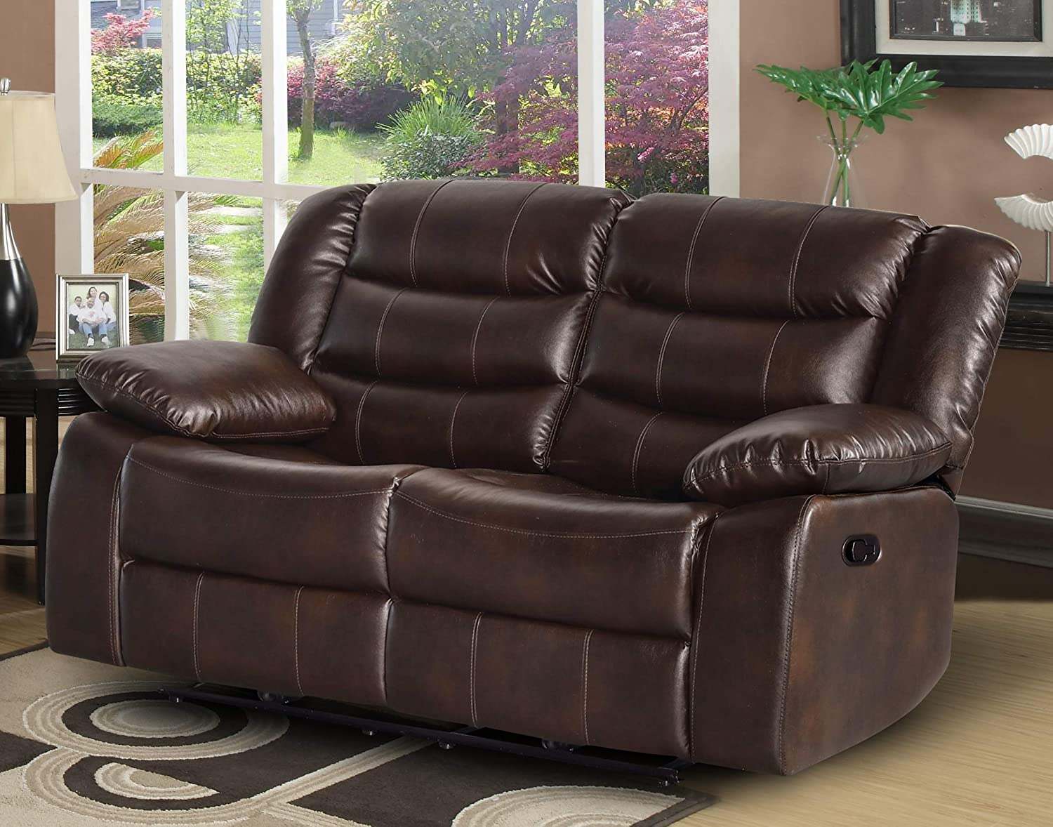 35.25 Container Furniture Direct Adeline Mid Century Modern Leatherette Living Room Reclining Chair Brown