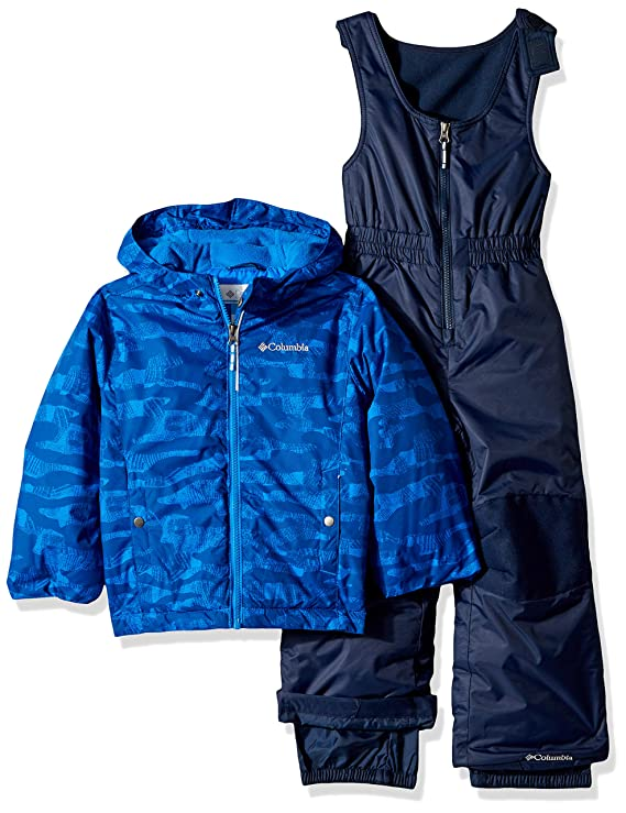 Columbia Kids' Little Frosty Slope Set, Collegiate Navy Camo Print, X-Small best baby boy snowsuits