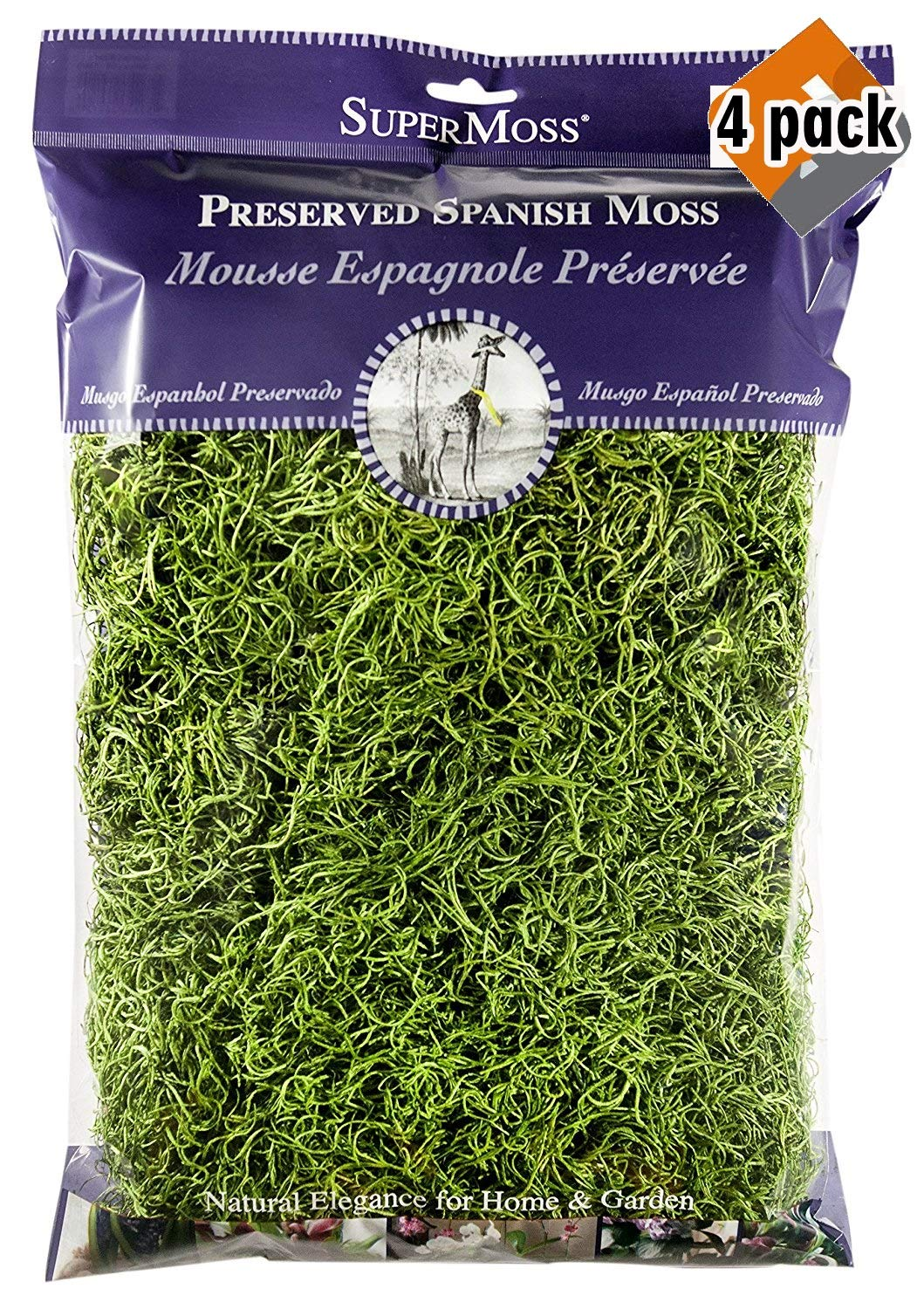 Super Moss 26912 Spanish Moss Preserved, Grass, 8oz (200 Cubic inch) (4)