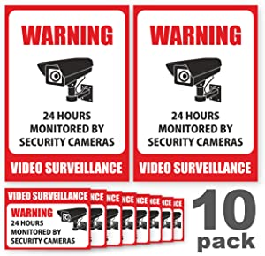 10 Pack Video Surveillance Sign Stickers - Self-Adhesive Vinyl Decal Camera Alarm System Stickers - 24 Hours Security Warning Signs - Monitored By Security Camera Stickers - Indoor & Outdoor Use