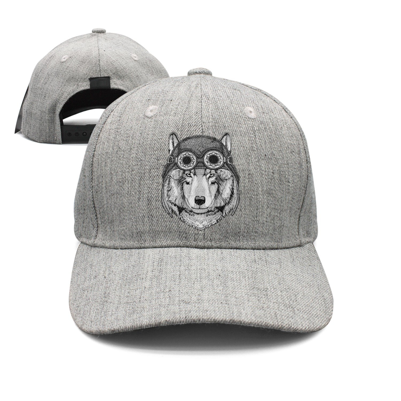 Wolf Dog Wearing Aviator Hat with Glasses Woolen Peak Cap Snapback Hat Visor Hats Grey