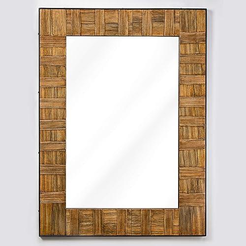 American Art Decor Wood and Metal Wall or Vanity Mirror for Bedroom, Bathroom, Living Room, Hallway 35 x 26