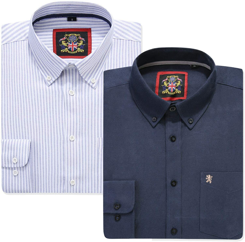 Camisa de manga larga para hombre, cuello inglés Oxford con ...