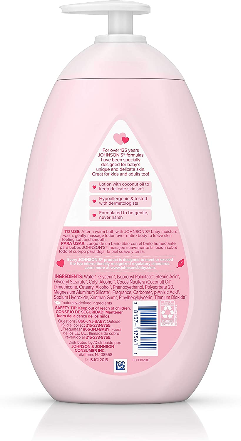 Johnson's Moisturizing Pink Baby Lotion with Coconut Oil, Hypoallergenic and Dermatologist-Tested, 27.1 fl. oz