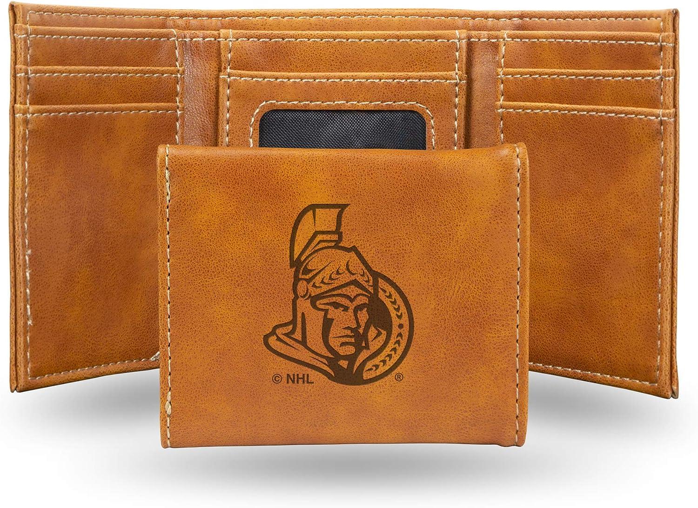 NHL Rico Industries  Laser Engraved Trifold Wallet Ottawa Senators