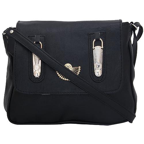 6e324fe136 Ladme Black Colour Best Quality PU Leather Fancy Stylish Branded Sling  Ladies Handbag Hand