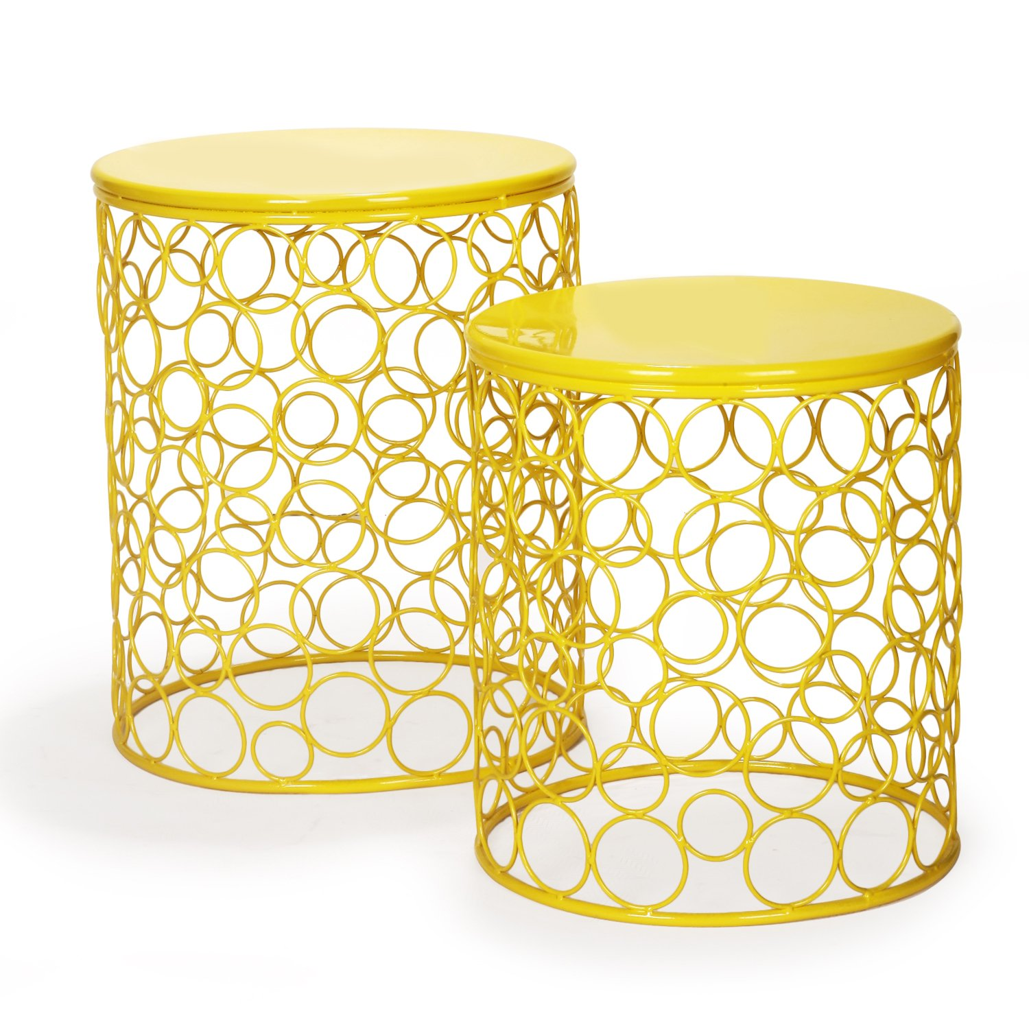 Homebeez Morden Designed Nesting End Coffee Table, Set of 2 (Yellow)