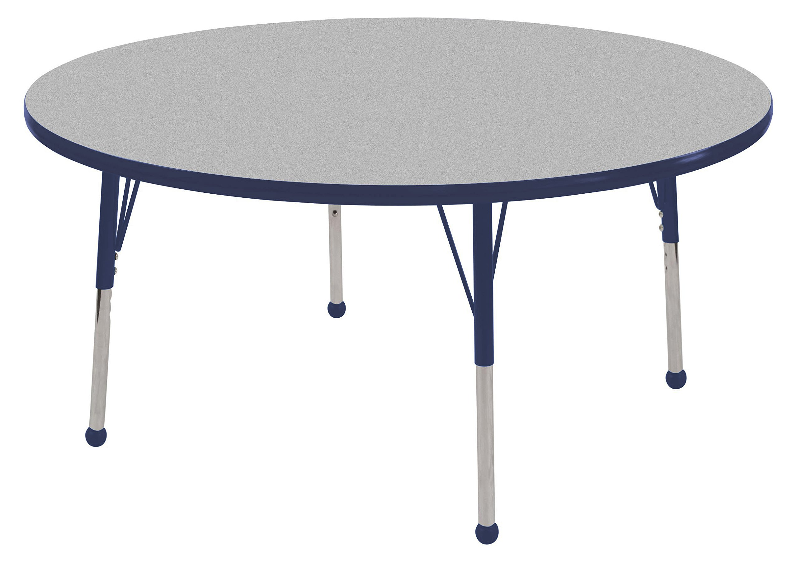 ECR4Kids T-Mold 48'' Round Activity School Table, Toddler Legs w/ Ball Glides, Adjustable Height 15-23 inch (Grey/Navy)