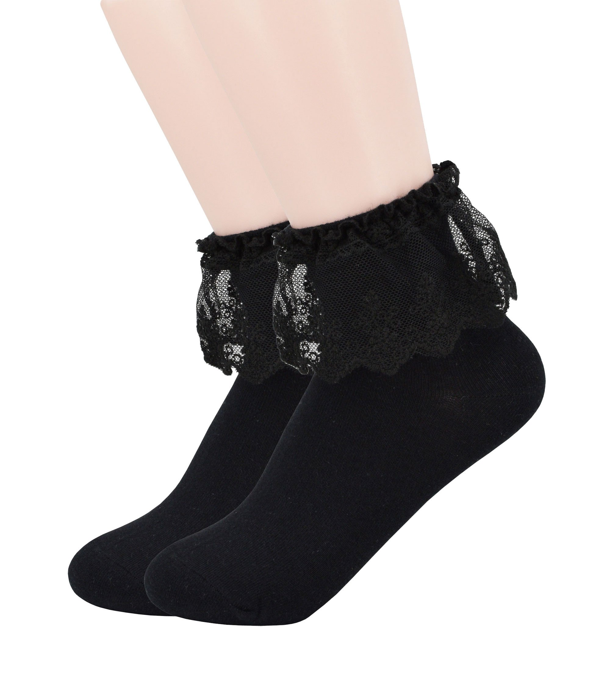 YJLSO Women Lace Ruffle Frilly Cotton Socks Princess Socks Ankle Socks,2 pairs, Style C05 (Black)