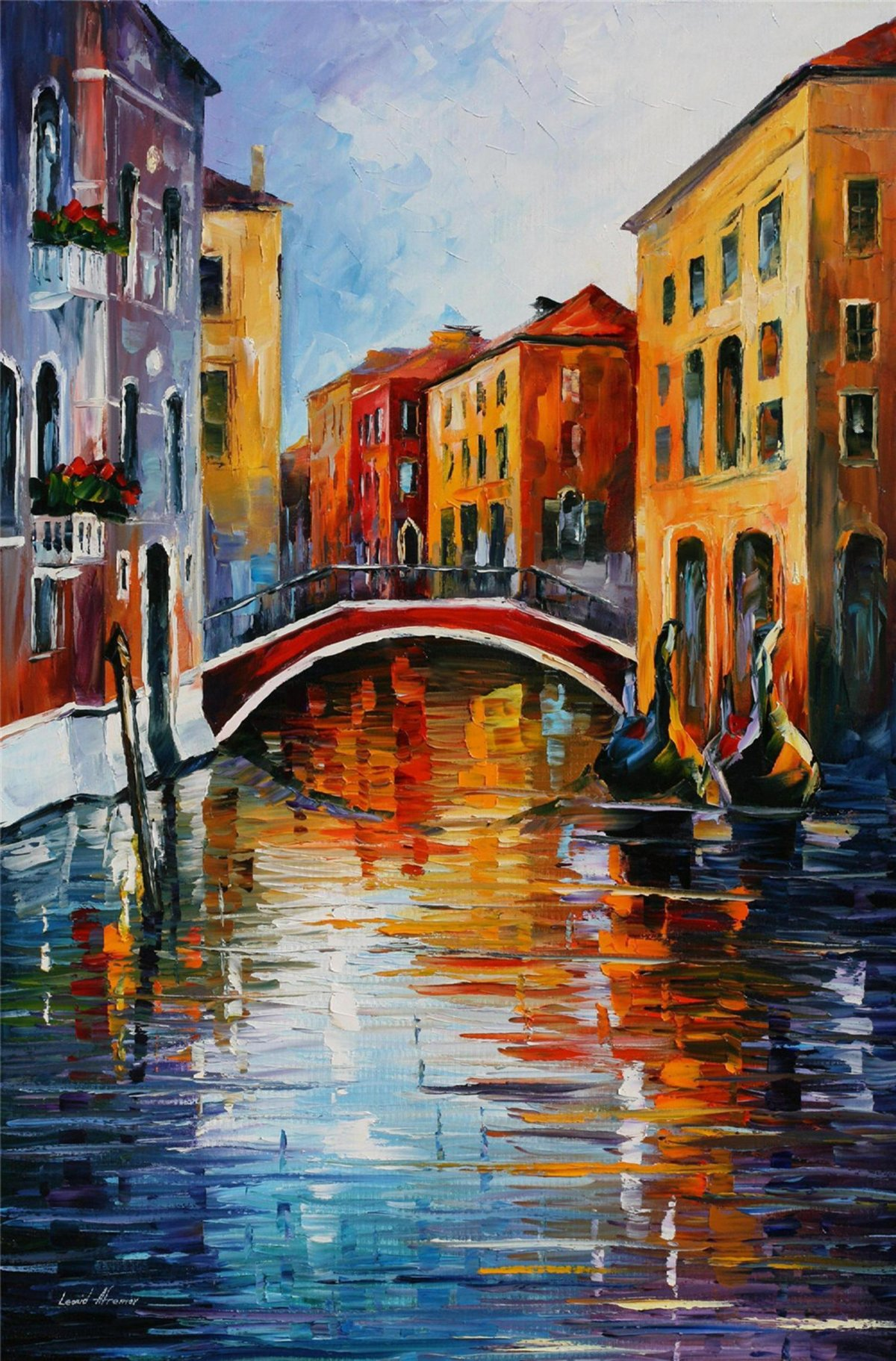 100% Hand Painted Oil Paintings Decor Abstract Modern Painting Venice Town Home Wall Decoration (20X30 Inch, Home Decor 6) by Bingo Arts