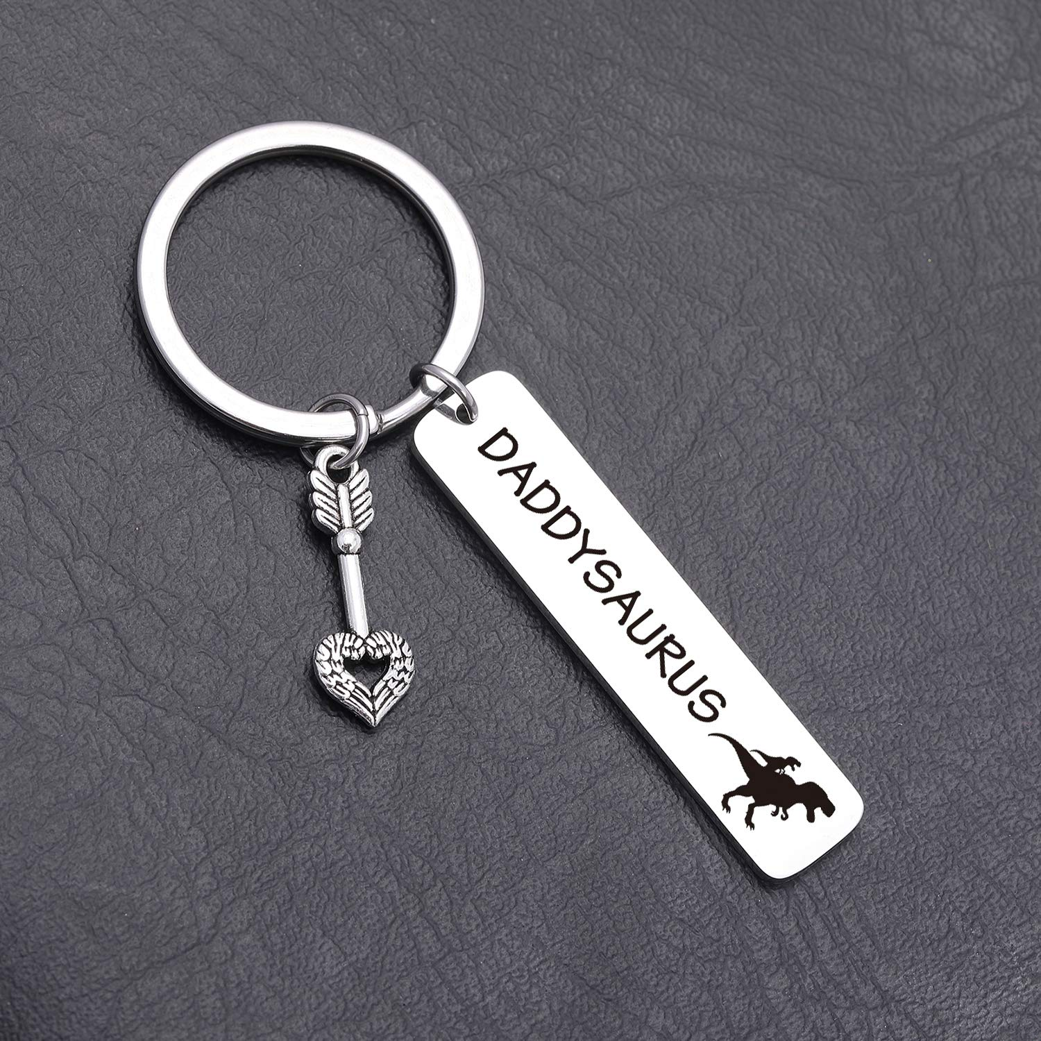 Daddysaurus Keychain dinosaur lover gift Dinosaur Keyring Fathers Day Gift Father in Law Gift