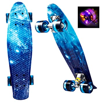OUTCAMER Skateboard 22 inchs Cruiser Style Complete Skateboard Outdoors Fun  Plastic Deck Skate Board Portable with 398d2316205