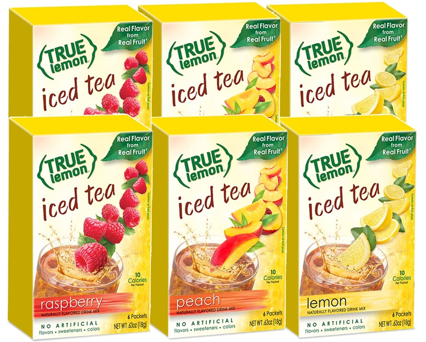LEMON, RASPBERRY & PEACH ICED TEA MIX by TRUE LEMON | Instant Powdered Drink Packets That Quench YOUR Thirst, Kit Includes 2 Boxes each flavor (6bx total) of Mouth Watering True Citrus (ICED TEA)