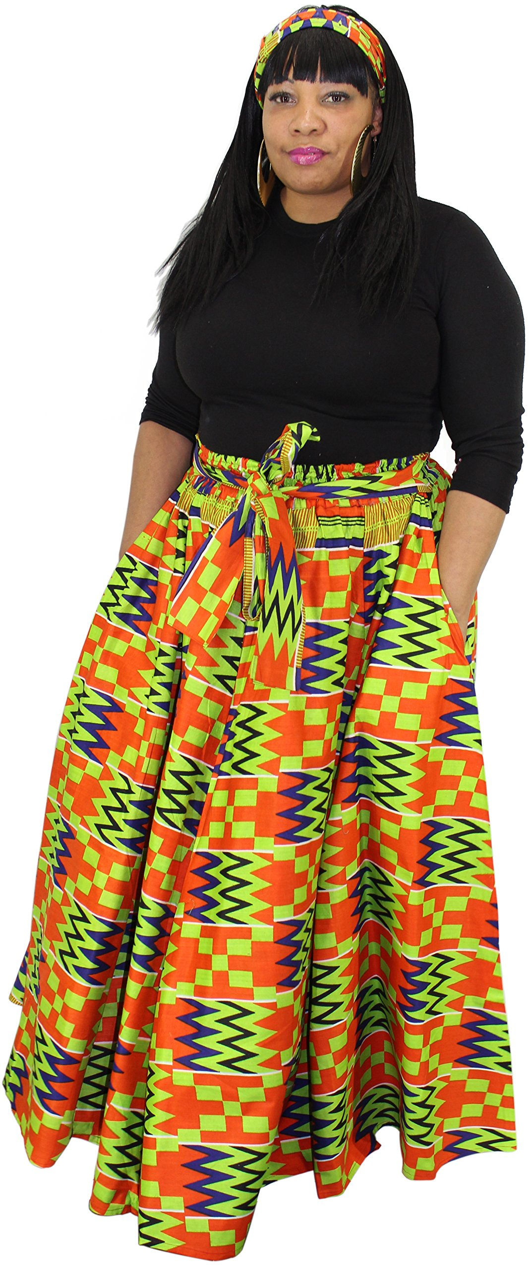 African Planet Women's Wax Dashiki Skirt Bow Tie Elastic Waist Ankara Maxi (Orange & Green)