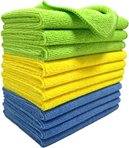 Polyte Microfiber Cleaning Cloth, 12 x 16 in (12 Pack, Blue,Green,Yellow)