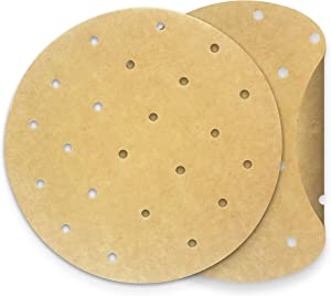 "KITCHENATICS Unbleached Non Stick Parchment Paper, Round, Perforated Cooking Sheet Liners For Baking Pan, Air Fryer, Steamer, Instapot, Oven or Grill, Brown Wax-Free Liner, 8"" ,150 Precut Sheets"