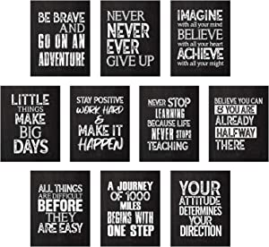 10 Pieces Inspirational Wall Posters Motivational Quote Posters Positive Affirmation Art Posters with 80 Pieces Glue Point Dots for Classroom Living Room Bedroom Office Walls Decorations, 11 x 14 Inch