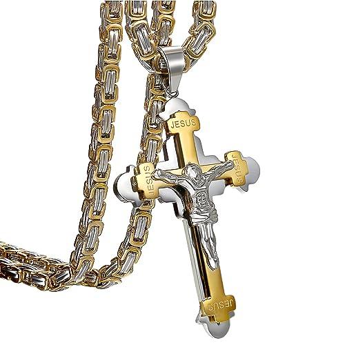fccb08ee6f0011 Oidea Uomo Croce Collana con ciondolo oro argento, Vintage in acciaio inox  Gesù Crocifisso Ciondolo con catena Re catene 55 cm: Amazon.it: Gioielli