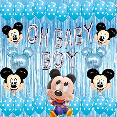 Mickey Mouse Baby Shower Decorations Oh Baby Boy Balloons Banner Blue Party Supplies kit, Foil Curtains for Baby Shower Indoor Outdor: Toys & Games